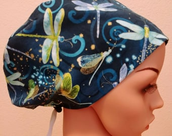 Women's Surgical Cap, Scrub Hat, Chemo Cap, Dragonfly