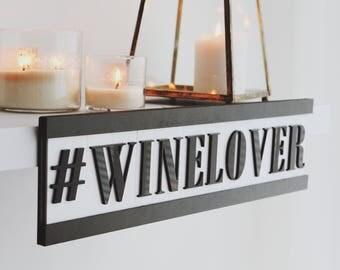 Winelover letter plate, wooden plate, bar, pub, wine, degustation, bar decor, wine decor, acrylic art, wine art, creative decor