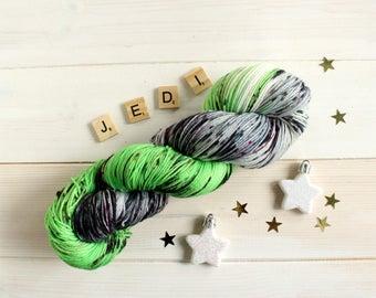 Hand dyed sock yarn inspired by Yoda's lightsaber - sock yarn - variegated yarn - Star Wars themed yarn - geek yarn - speckled yarn