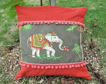 Burlap and cotton elephant Cushion cover 40 x 40