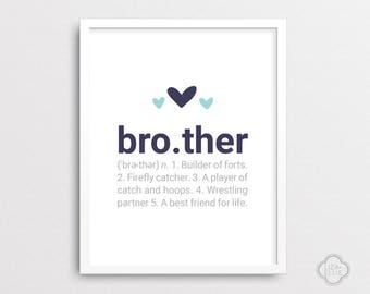 Brother Definition - Baby shower gift - Nursery wall art - Custom wall decor - Navy nursery - Boy art print - DIGITAL FILE