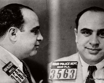 Al Capone Mugshot - Miami - 1930s - Photo - Mafia - Mobster - Mob - Chicago - Gangster - Organized Crime - Black and White - Photograph, Art