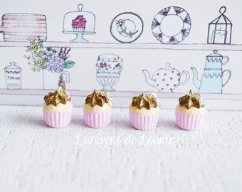 4 stitch markers knitting Cupcake chocolate gold