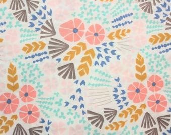 Wildflowers, Cloud 9 Fabrics, 100% Certified Organic Fabric, Organic Cotton, Floral, Poplin, Flowers, Pink, Grey, Navy, Mint, Half Metre