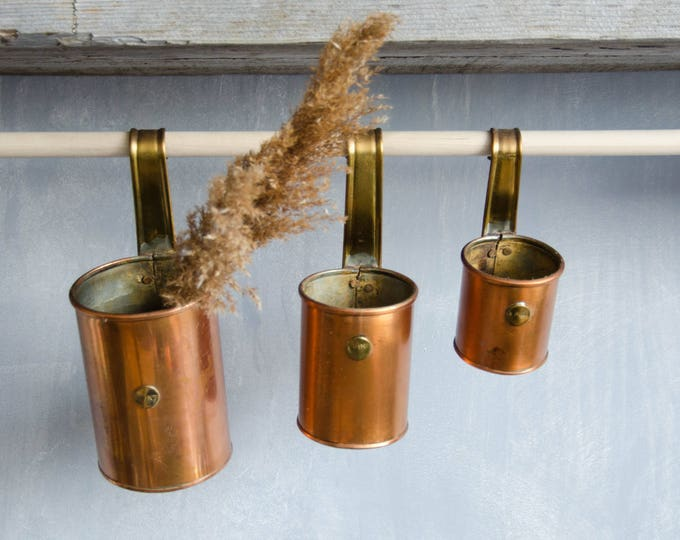 Set Vintage Copper Measuring pints