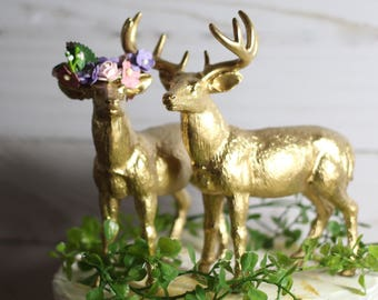 Boho Cake Topper  Deer Cake Topper  Boho Wedding Decor Gold Animal Wedding Cake Topper