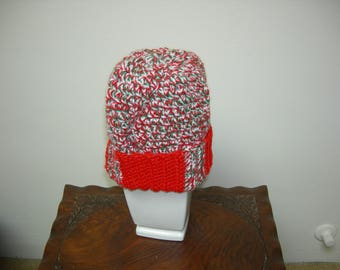 Red, Green, White, Variegated Adult Hat/Beanie/Head Cover, Christmas Colors Hat