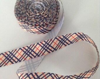Ribbon GROSGRAIN sold by the yard black beige 22 mm