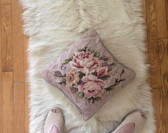 vintage, hand made, needlepoint pillow cover, pale pink, with roses, pink and yellow, botanical, shabby chic, velvet backing