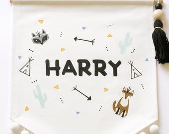 Custom Hand Painted Fabric Name Banner