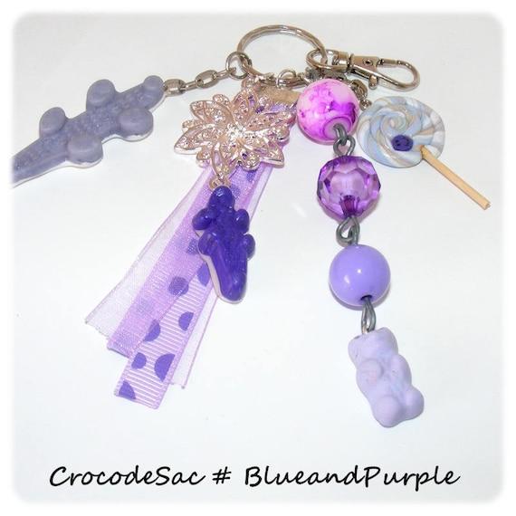 Bag # Keychain # sweet # embellishment # crocodile # greed # Ribbon synthetic # purple