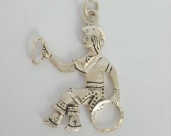 "Vintage Native Man Holding Discs Fine Silver 999 Necklace 18"""