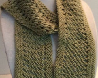 Green Scarf, Cotton Scarf, Knit Scarf, Skinny Scarf, Long Scarf, Summer Scarf, Lace Scarf, Women's Accessories, Gift for Her, Gift for Mom