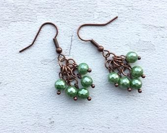 Green shell earrings, dangle earrings, gift for her, gift for women, earrings for women, JoolieJooles, green earrings, earrings uk