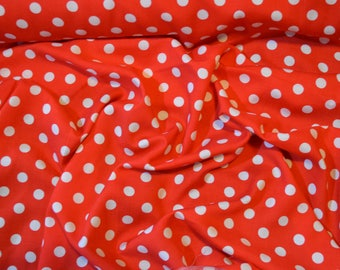 100% Viscose Fabric in Bright Red Polka Dot Spot - SAMPLE SWATCH