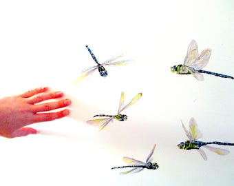 Dragonfly Wall Stickers, Dragonfly Decals, Watercolor Dragonfly Wall Art,  Damselfly Decor, Gift