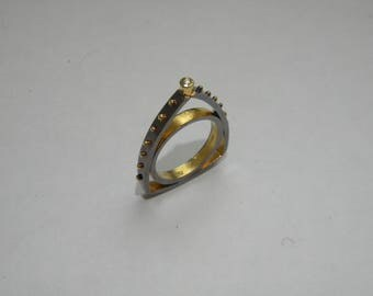 handcrafted contemporary silver gold K18 with diamond