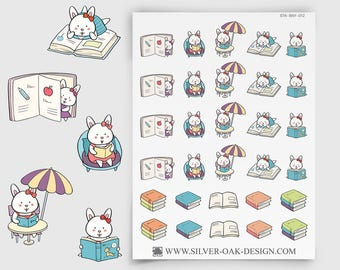 Bunny Reading Stickers - book club stickers, book lover, Erin Condren, daily journal, personal planner, study reminder (BNY-012)