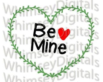 Be Mine Heart Vine Wreath SVG Digital Download Cut File, HTV Design, Valentine Wall Decor, svg, png, scrapbooking