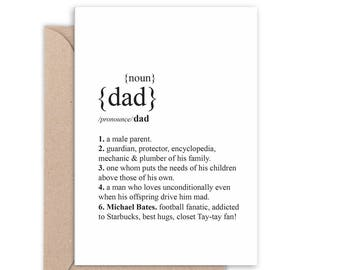 Personalised Dad Dictionary definition Card | Father's Day Card | Custom text | Thanks Dad | Handmade