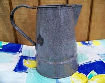 Vintage Enamel Granite Ware Coffee Pot, Large Antique Gray Camping Coffee Pot, Enamel Ware, Rustic Country Home Décor Campfire Cowboy