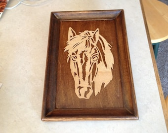 horse wooden cut out wall hanging