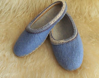 Sale Felted womens light blue slippers. Organic wool house shoes. Size 8.5