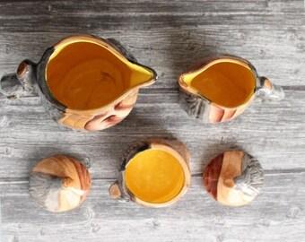 ENJOY SALES GRANDJEAN Jourdan, Vallauris France - Service vintage ceramic imitation wood composed of 3 parts: teapot, sugar bowl and milk ju