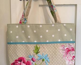 Tote Bag, tote, floral tote, floral tote bag, handbag, shoulder bag,floral and spotty tote bag, holiday bag, weekend bag, birthday gift