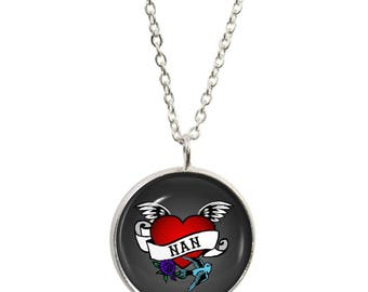 Nan Tattoo Pendant and Silver Plated Necklace