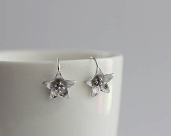 Azalea Hook Earrings / flower earrings, floral jewelry, wildflower earrings, spring flowers / E0-74
