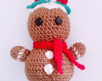 Handmade amigurumi Christmas gingerbread cookie