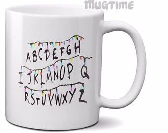 Alphabet Xmas Lights - Stranger Things Inspired - Coffee Tea Mug Cup 330ml 11oz