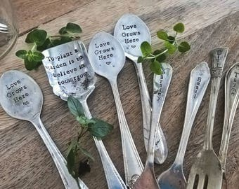 Hand Stamped vintage cutlery garden marker - silver plated