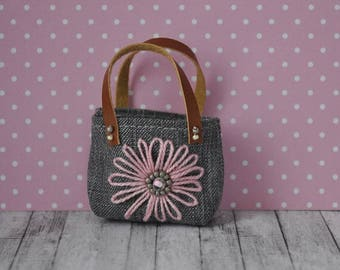 Handmade grey jeans bag for Barbie fashionistas,Curvy Barbie,Model Muse,Fashion Royalty,Poppy Parker,Monster High dolls