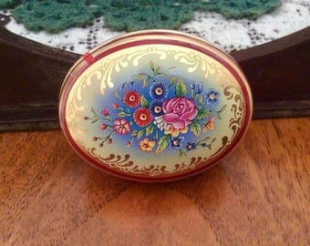 Vintage Chambers Candy Tin Floral Design