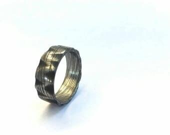 Damascus rock man ring.