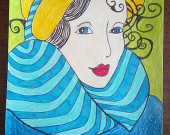 woman faces designs has the pastel pencil