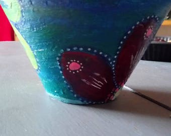 decorated terracotta flower pot