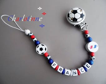 ¤ Football pacifier clip with personalized with name.