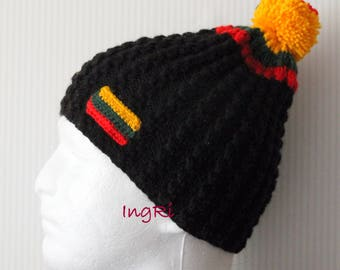 handmade knitted cap with the Lithuanian flag