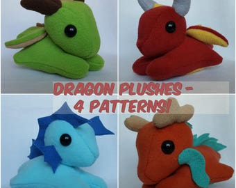 Customizable Plush Dragon - 4 Patterns!
