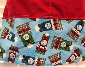 Apron Thomas the Train and friends / Thomas the Train / Percy the Green Train / Henry the Red Train / adult half apron with pockets