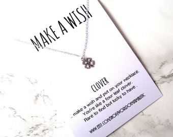Talisman clover necklace, graduation clover jewelry, lucky charm necklace, minimalist silver necklace, wish jewelry, fine delicate jewelry