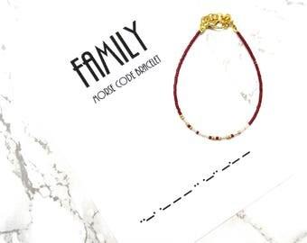 FAMILY morse code bracelet, wedding gift, bridesmaid gift , morse code jewelry , minimalist fine bracelet, dainty delicate bracelet