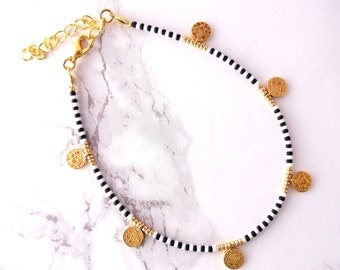 Black white minimalist anklet, simple coins anklet bracelet, layering bracelet, coin jewelry, adjustable boho anklet bracelet, beaded anklet