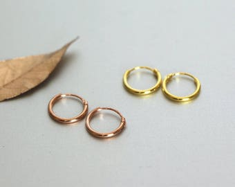 Rose Gold And Gold 10mm Hoops, Tiny Ear Hoops Set, Cartilage Hoops,Body Piercing Hoops, Delicate Hoops, Gift Sets, Dainty Hoops,(EGP16)