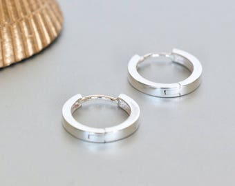 16mm Silver Ear Hoops, Minimal Silver Hoops, Sterling Silver Hoops, Piercing Hoops, Silver Earrings, Gift Ear Hoops  (E133)