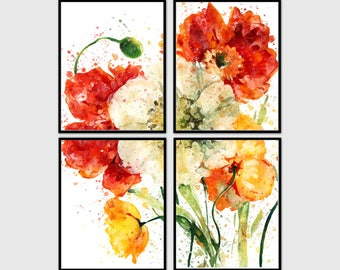 Set of 4 wall art, Watercolor poppy art.