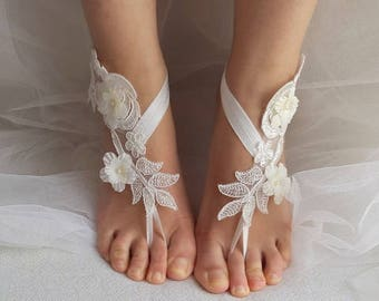barefoot sandals,bride ivory lace,  flowers, wedding sandals,bridal accessories, barefoot sandals, bridesmaids,free shipping!